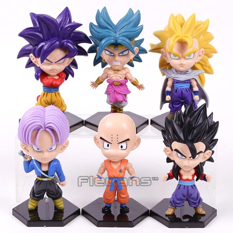 Dragon Ball GT Goku Super Saiyan 4 Son Goku Son Gohan Krillin Trunks Broli PVC Figures Collectible Model Toys 6pcs/set 12~14cm itx m100