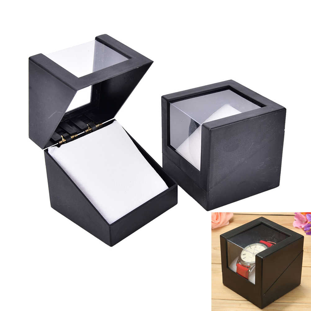 Black Wrist Plastic Earring Display Storage Holder Jewelry Transparent Case Walentine's Day Anniversary Gift Watch Box 78*78mm