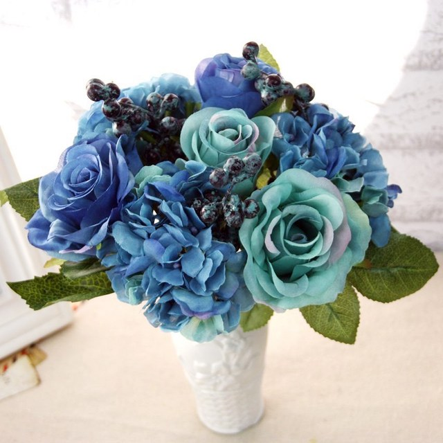 Artificial silk blue rose flowers bouquet artificial berries floral artificial silk blue rose flowers bouquet artificial berries floral wedding hydrangea artificial flowers for home decoration mightylinksfo Images