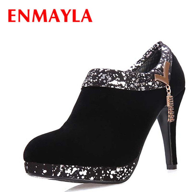 ENMAYLA Spring/Autumn Boots Round Toe Thin Heels Rhinestone Ankle Boots for Women Black Red Women Shoes Big Size Shoes Pumps enmayla ankle boots for women low heels autumn and winter boots shoes woman large size 34 43 round toe motorcycle boots