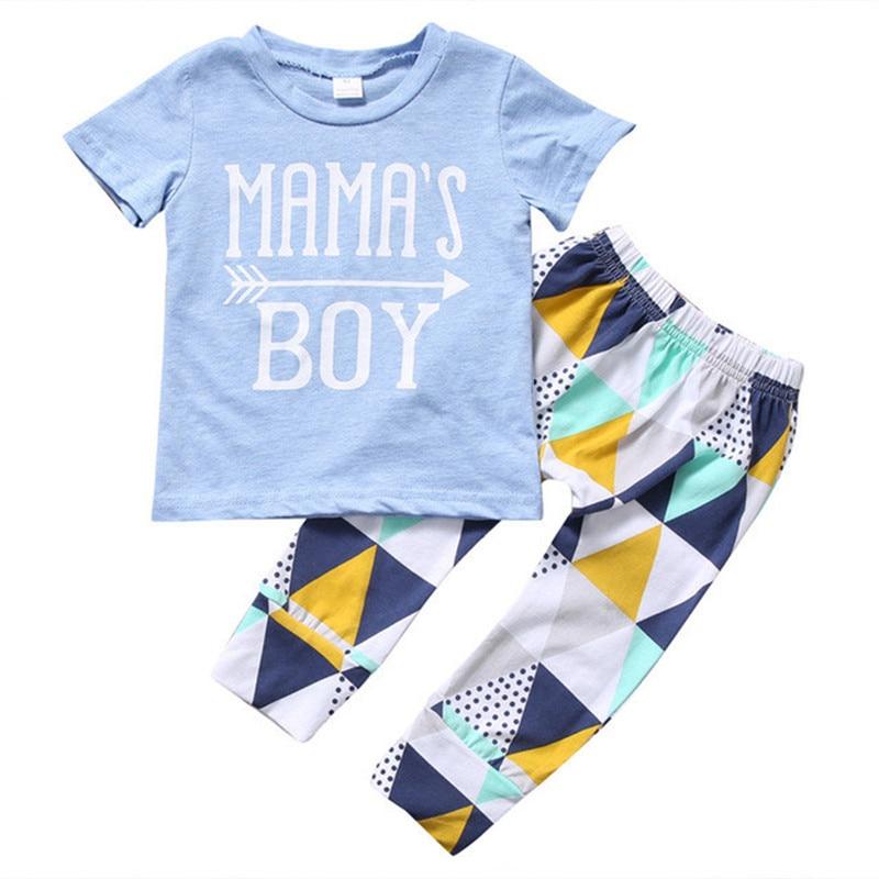 Summer 2017 Newborn Baby Boy Clothes Short Sleeve Cotton Printing T-shirt Tops +Geometric Pants 2PCS Outfit Kids Clothing set