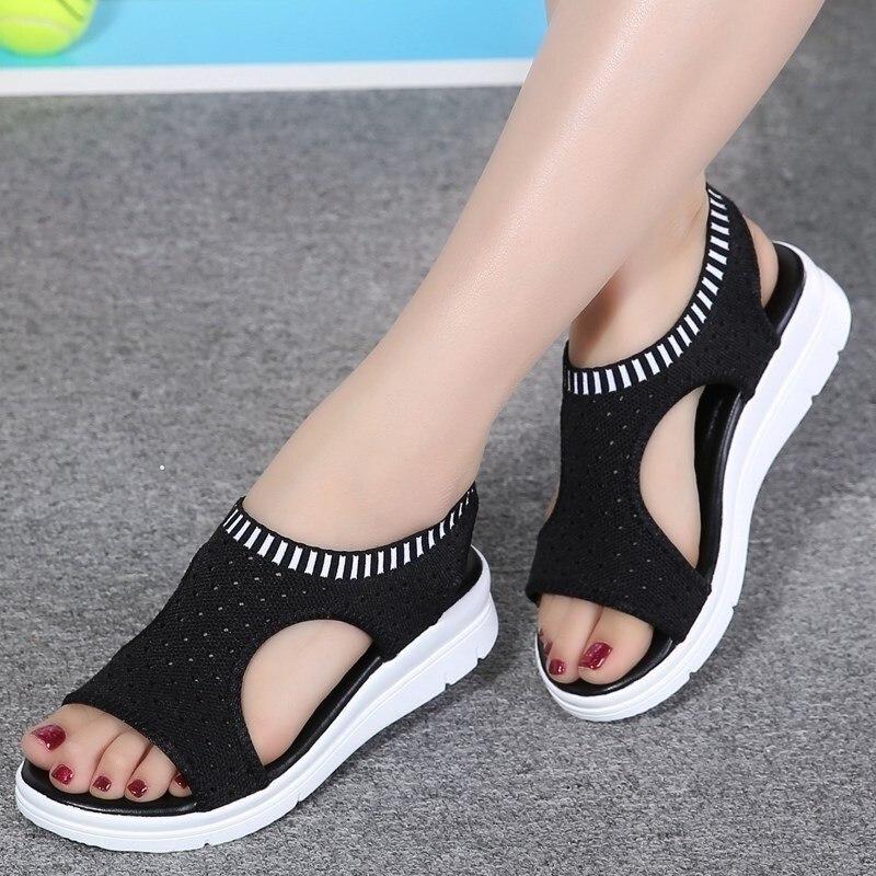 Women Sandals Summer 2019 New Fashion Big Size Platform Sandals Shoes Women Breathable Mesh Elastic Band Sandals Ladies Shoes