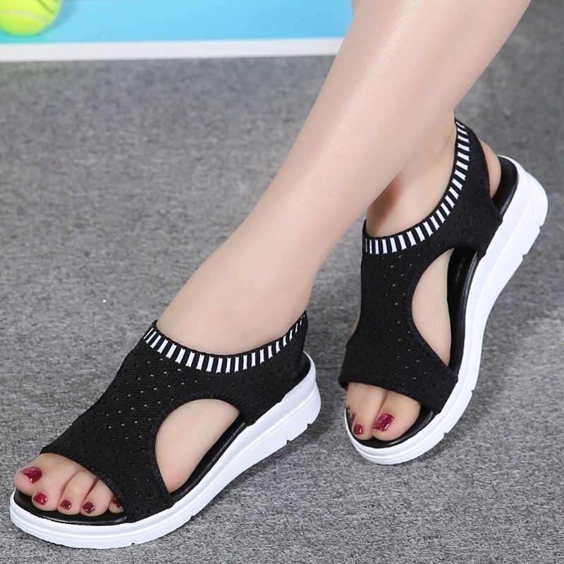 c9ff384c Las mujeres sandalias de verano nueva moda 2019 de gran tamaño sandalias de plataforma  zapatos de