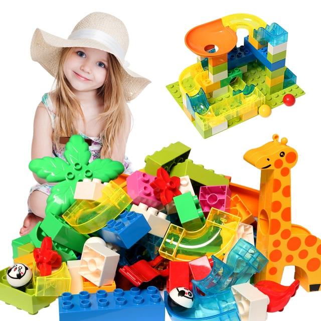 DIY Maze Ball Track Building Blocks Accessories Funnel Slide Bricks Compatible Legoed Duploe Block Educational toys for children