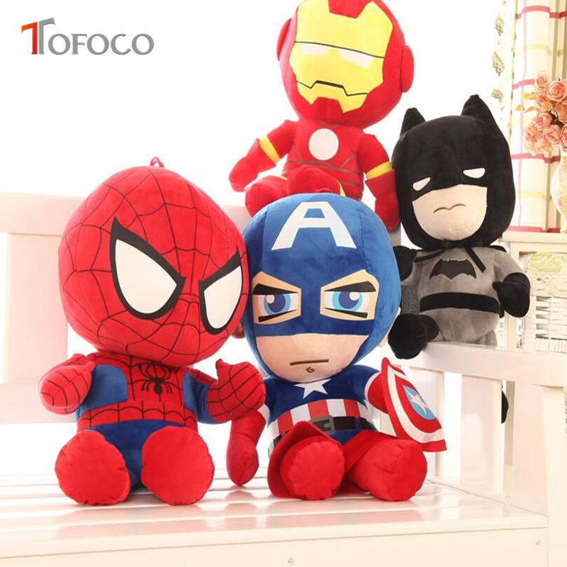 TOFOCO 28cm Movie Dolls Spiderman Plush Toy America Captain Iron Man Doll Plush Stuffed Educational Toys Christmas Gift For Kids stuffed animal 44 cm plush standing cow toy simulation dairy cattle doll great gift w501