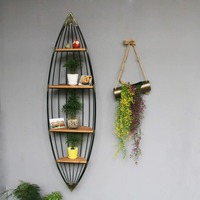 European minimalist sailboat storage rack, home coffee shop, wall decoration rack, bookshelf, floor type flower rack. 5