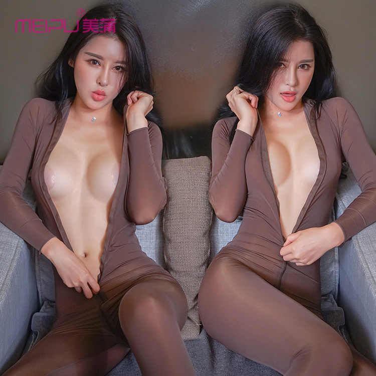Sexy Vrouwen Rits Open Coltrui Bodysuit Shiny See Through Teddy Bodysuit Lingerie Catsuit Sexy Panty Body kousen F30