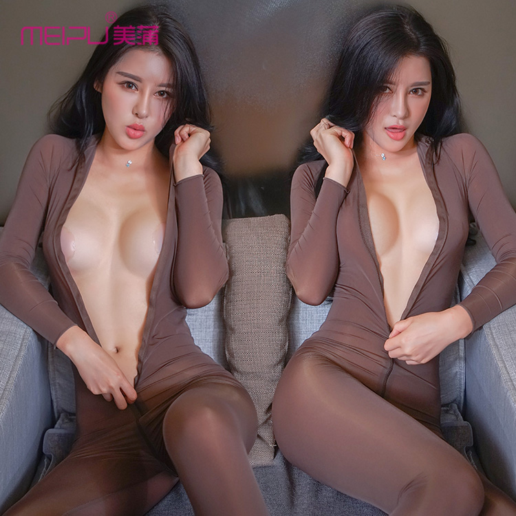 Sexy Women Zipper Open Turtleneck Bodysuit Shiny See Through Teddy Bodysuit Lingerie Catsuit Sexy Pantyhose Body Stockings F30