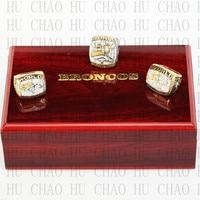 One Set 3PCS 1997 1998 2015 Denver Broncos Super Bowl Championship Ring With Wooden Box Replica