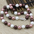 4 style multicolor simulated-pearl shell round beads chain necklace for women 8mm 10mm 12mm 14mm choker diy jewelry 18inch B1644