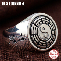 BALMORA 100 Real 925 Sterling Silver Rotated Rings For Men Gift Thai Silver Ring Vintage Fashion