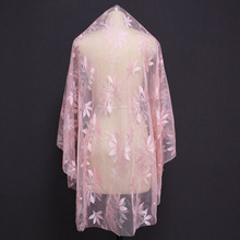 New Arrival Beautiful Short Pink Wedding Veil Cover Face Flower Lace Bridal Voile Mariage