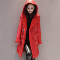 Fashion Plus Size Hooded PU Leather Winter Suede Fur Jacket Women Long Sleeve Thicken Coats Outerwear Jacket Abrigo Mujer Q726