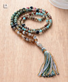108 Beads Necklace Natural Jasper Agate with Colorful Tassel Mala Necklace Bohemia String Knotted Women Long Necklace