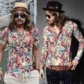 M-4XL !! Plus size Summer long sleeve shirt singer Slim retro fashion men's large flowers silk chiffon shirt costumes clothing