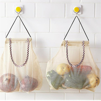 Fruit And Vegetable Storage Bag Mesh Grocery Shopper Tote Durable wear-resisting place-saving bags Shopping Bags Shopping Bags