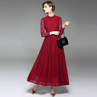 Long Dress Women 2017 Autumn Fashion Solid O Neck Long Sleeve Slim Elegant A Line Wine