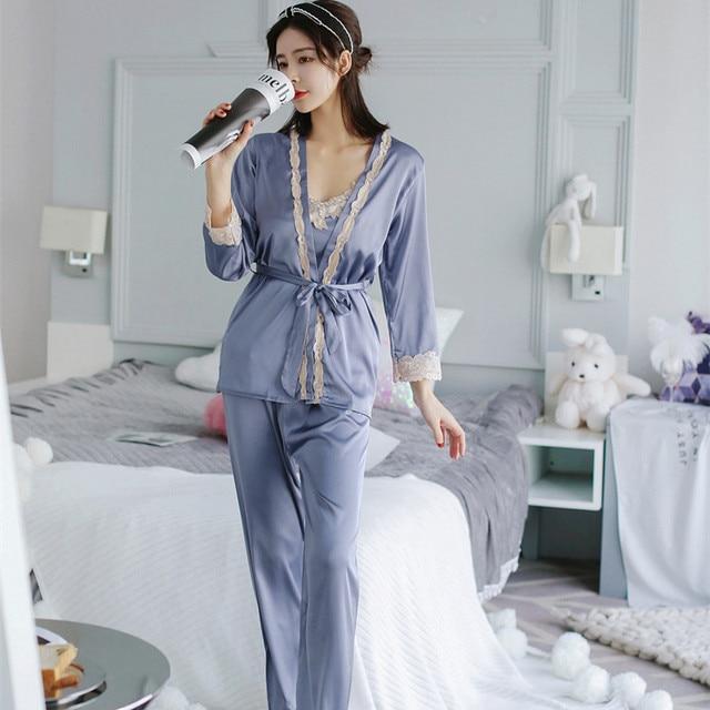 ba1f61e348 Voplidia lingerie three-piece Set Sexy Bathrobe Women Pajamas Set New  Nightgown Set Sleepwear Pajamas Pijama Feminino Pyjama