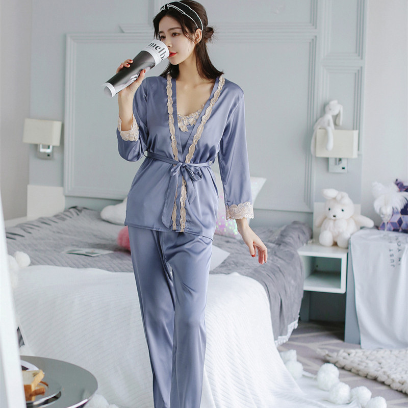 Voplidia lingerie three-piece   Set   Sexy Bathrobe Women   Pajamas     Set   New Nightgown   Set   Sleepwear   Pajamas   Pijama Feminino Pyjama