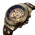 Часы SHENHUA для мотоцикла  новые дизайнерские прозрачные часы из натуральной бронзы с ремешком  водонепроницаемые мужские автоматические час...