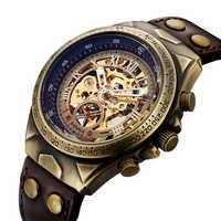 SHENHUA Motorcycle New Design Transparent Genuine Bronze Belt Waterproof Skeleton Men Automatic Watches Top Brand Luxury Clock