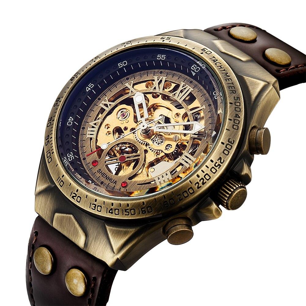 SHENHUA Motorrad Neue Design Transparent Echte Bronze Gürtel Wasserdicht Skeleton Männer Automatische Uhren Top Marke Luxus Uhr