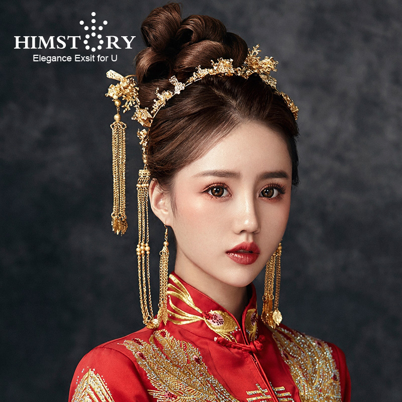 HIMSTORY Hair-Accessories Wedding-Hair Small Tiaras Tassel Leaf Bride Gold Chinese New