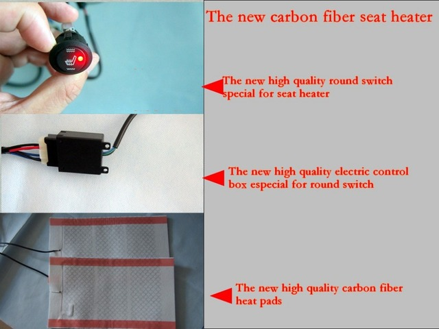 free shipping,The new carbon fiber seat heater with round switch and electric control box,auto heater,car seat  heat cushion