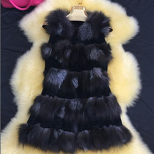 Silver Fox Fur Vest Genuine Leather Fur Coat Natural Real Fox Fur Waistcoats Jackets for Women Colete De Pele