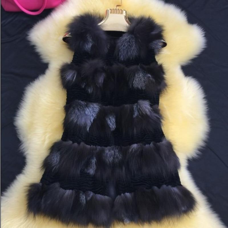Silver Fox Gilet De Fourrure Véritable En Cuir Manteau De Fourrure Naturelle Réel Fourrure De Renard Gilets Vestes pour Femmes Colete De Pele