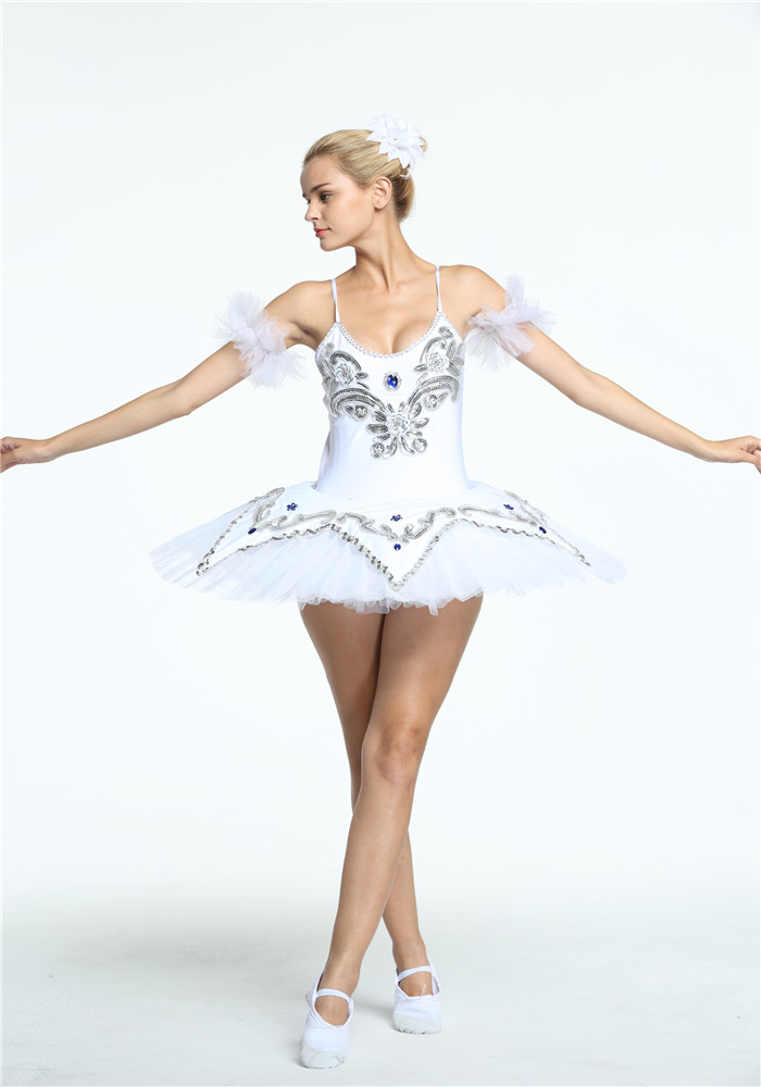 8 Layers Professional Adult Platter Tutu Skating Dresses White Costume Stage Ballet contemporary dance robe de