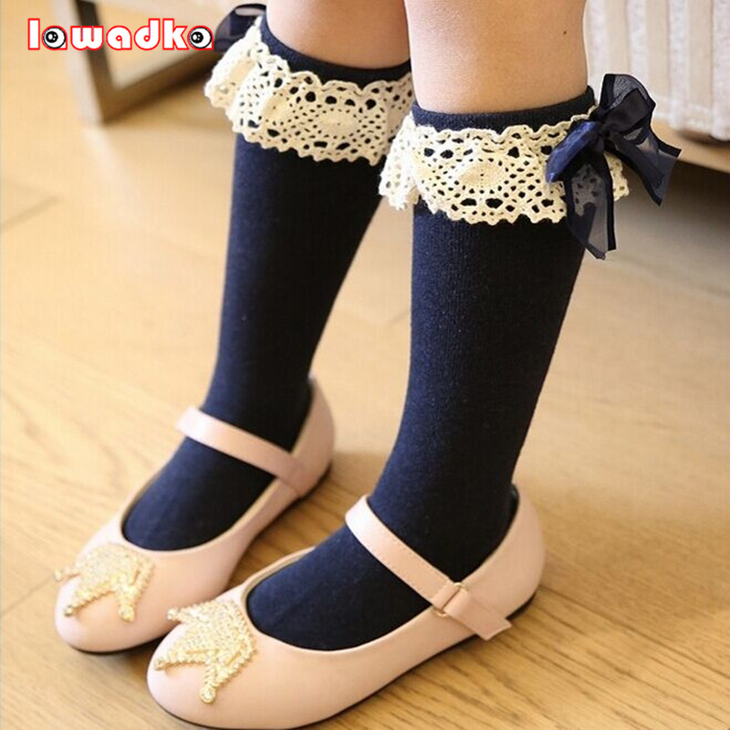 Kid Girls Socks Children's Knee High Socks with Lace Baby Leg Warmers Cotton Princess Style pair of stylish button lace embellished hemp flowers knitted leg warmers for women