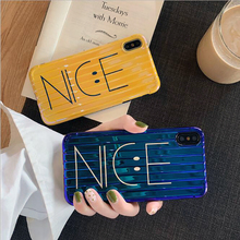 Smile Face Nice Luggage Case for iPhone 6 6S 7 8 Plus X XS MAX  Yellow Blue For Apple iPhones Cover Cases #3F
