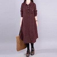 2018 Plus Size L 5XL ZANZEA Autumn Women Dresses Full Sleeve Shirt Dress Casual Loose Blusas