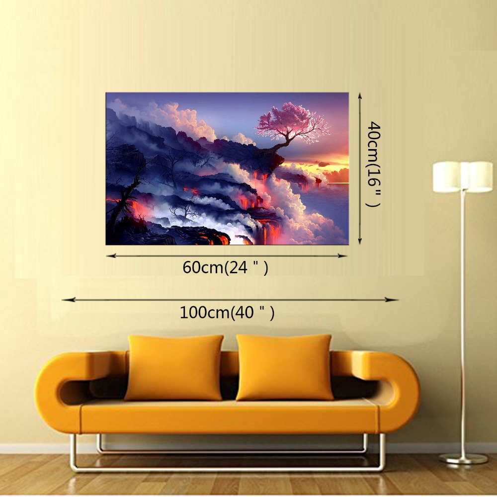 1 Panel living room home decor Wall Art Picture clouds mountain fire ...