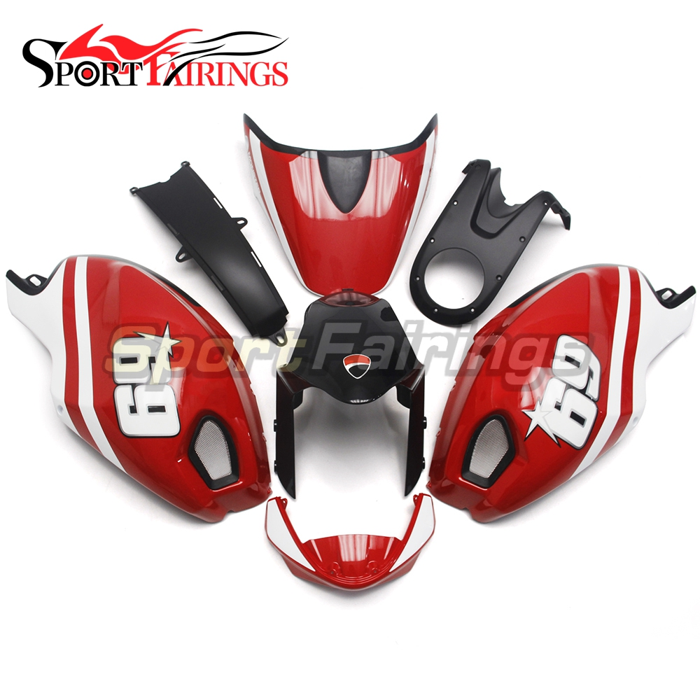 Red White 69 Motorcycle Fairings For Ducati 696 796 795 1000 1100 Year 2009 2010 2011 Injection ABS Plastic Fairing Kit Covers hot sales yzf600 r6 08 14 set for yamaha r6 fairing kit 2008 2014 red and white bodywork fairings injection molding
