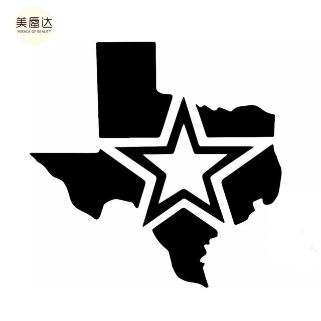 casual cool of the texas usa map five pointed star mature man car sticker for
