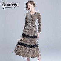 Velour Dress 2019 Elegant Velvet Dresses High Waist A Line Velour Dresses Winter Midi Dresses