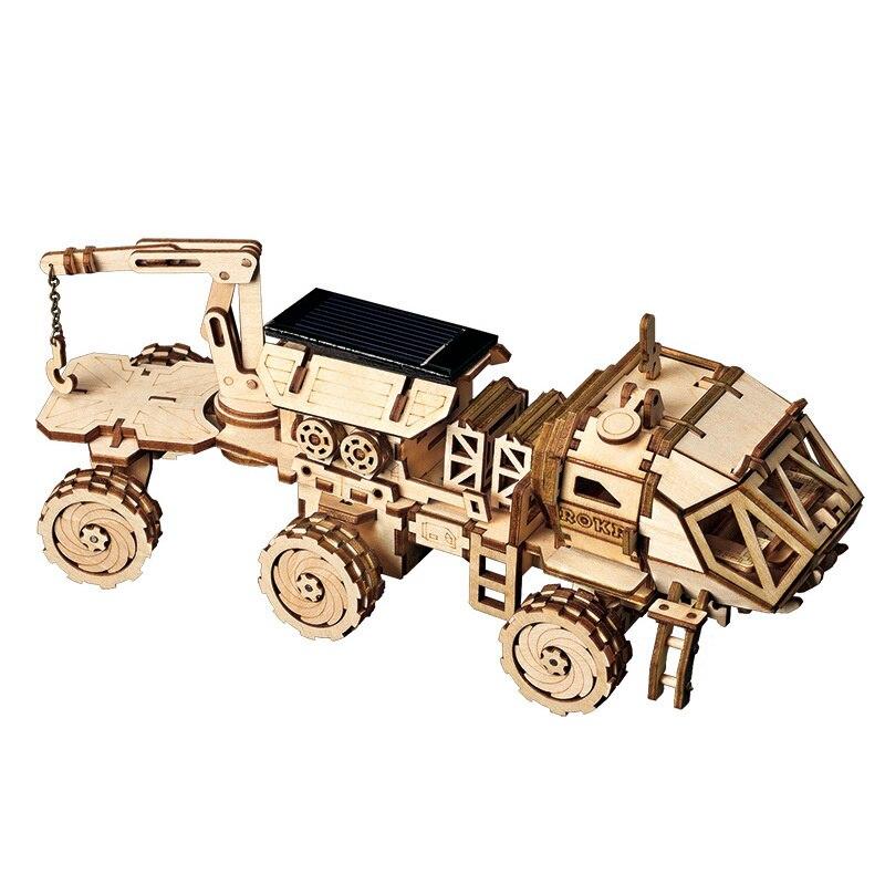 Robotime Mobile Découvrez Rover Jouet à Energie Solaire 3D BRICOLAGE Découpage Au Laser En Bois Kit De Maquette Cadeau pour Enfants Adultes LS504