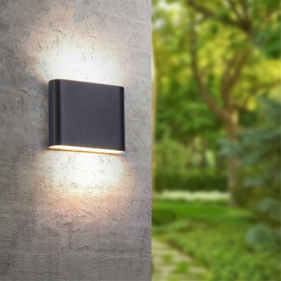 Lámpara de pared IP65 impermeable al aire libre 6 W/12 W LED luz de pared moderna decoración interior/exterior arriba abajo lámpara de pared de aluminio de doble cabeza