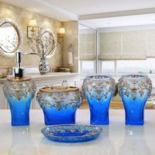5PCS Blue Bathroom Accessories Sets/soap Holder/soap Dispenser /Toothpaste  Holders/Bathroom