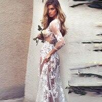 White Lace Maxi Dress Party Evening Sexy Mesh Long Gown 2018 Summer Perspective Vestido De Festa Floor length Wedding Robe Femme