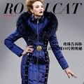 Роскошные высокое качество пуховик женский королевский для кошки тонкий тонкий бисером женщин вниз пальто зимняя куртка зимы женщин пальто