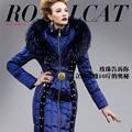 Real para o gato de luxo de alta qualidade para baixo casaco feminino fino beading fino das mulheres para baixo casaco de inverno mulheres jaqueta de inverno casaco