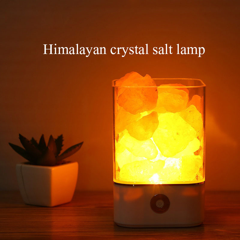 NoEnName_Null New Himalayan Crystal Health Salt Lamp Gift Bedroom Bedside Lamp Colorful Usb New strange touch Switch Night Light