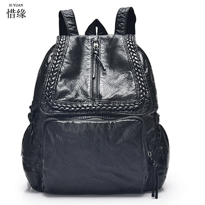 2017 big backpacks women backpack school bags students backpack ladies women's travel bags leather package baobao black bookbag