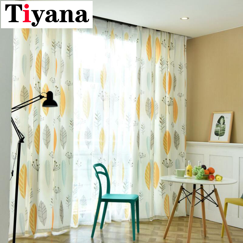 Nordic Simple Plant Curtain Cotton Ins Style Modern Curtains For Living Room / Study Room Yellow Leaves Window Sheers P132D4