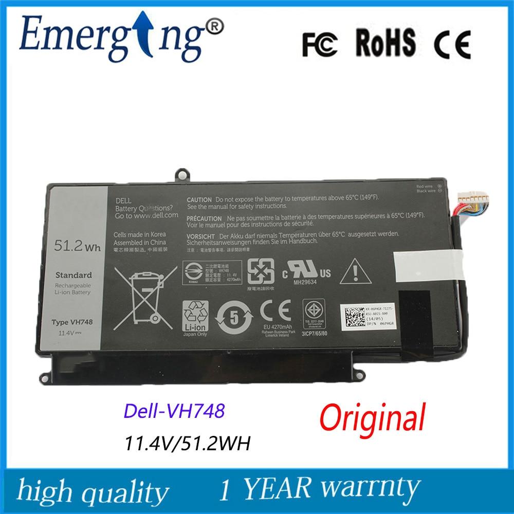 11.4V  51.2WH New Original  Laptop Battery For Dell V5560 V5460 VH748 V5470 V5480 VH748 14-5439 Ultrabook