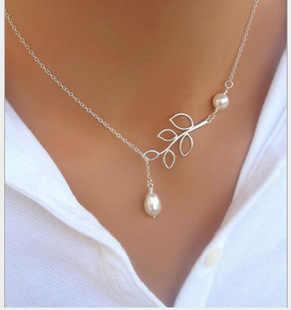 Fashion Jewelry Wedding Pearl Necklace 2018 Hot Sale New Leaf Pendant Necklace Statement Necklace Female Elegant necklace