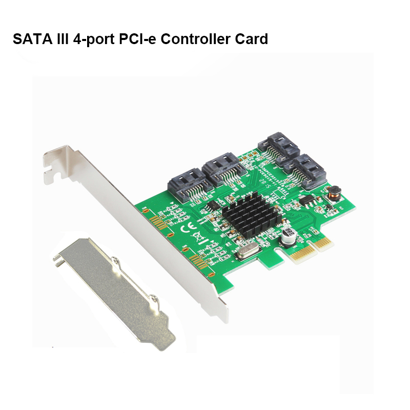 High Quality PCIe  4 Internal SATA III 6Gb/s Ports 88SE9215 Controller Chip 2.0x1 Expansion Card Low Profile Bracket
